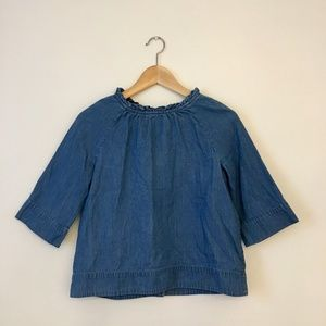 J.Crew chambray blouse size 12 with button back